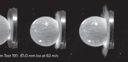 Hail Ice Impact onto Composite Aircraft Structures